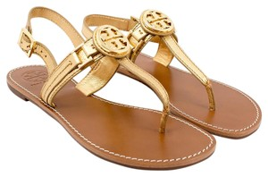 Tory Burch Flat Thong Metallic Tumbled Gold Sandals