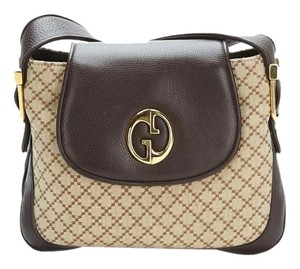 Gucci 1973 Canvas Leather Monogram Shoulder Bag