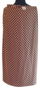DKNY Silk Long Skirts Brown And Cream Dress