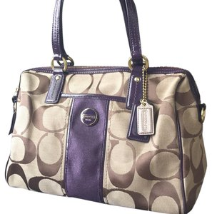 Coach Satchel in Tan/Brown Purple