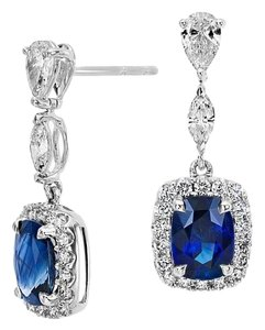 Avi and Co 4.00 cttw Cushion Shape Sapphire & Round Diamond Drop Earrings 14K White Gold