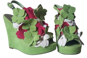 Liliana Floral Summer Wedding Lime/Pink/White Wedges