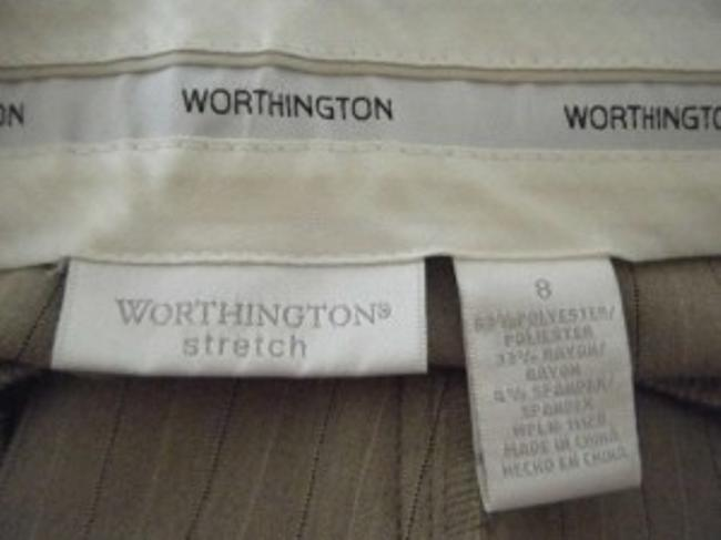 Worthington Straight Pants Light Brown with Navy and White Pinstripe
