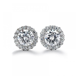 Avi and Co 3.07 cttw Round Brilliant Cut Diamond Halo Stud Earrings 14k White Gold