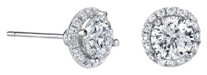 Avi and Co 2.32 cttw Round Brilliant Cut Diamond Halo Stud Earrings G-H/SI 14K White Gold