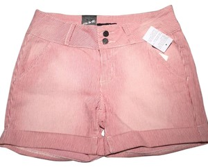 Earl Jean Cuffed Shorts Red and white