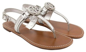 Tory Burch Flat Thong Gold Metallic Tumbled Silver Sandals