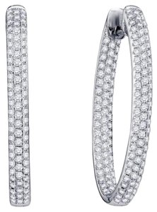 Avi and Co 5.56 cttw Round Cut Diamond Pave Inside-Outside Hoop Earrings 14K White Gold