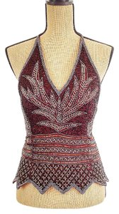 Aftershock London Sequin Corset Night Out Silk Chocolate Halter Top