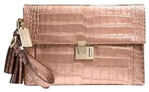 COACH LIQUID METALLIC CROC LOCK CLUTCH Rose Gold Clutch