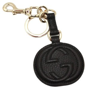 Gucci Gucci 'Soho' Black Leather Interlocking G Leather Key Chain 282641