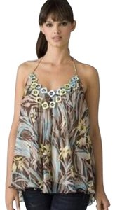MILLY Brown, Blue, Green, Tan, White Halter Top