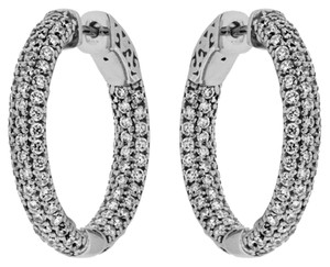 Avi and Co 4.60 cttw Round Brilliant Diamond Inside-Outside Hoop Earrings 14K White Gold