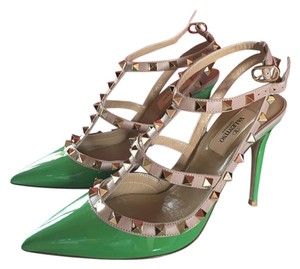 Valentino Studded Patent Leather Green Pumps