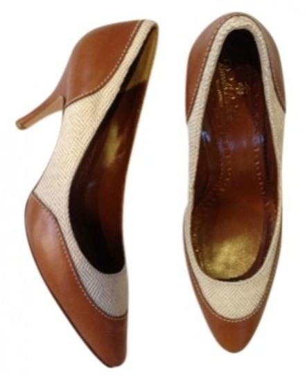 Brooks Brothers Tan with leather trim Pumps