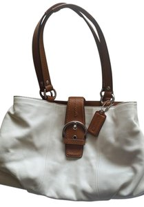 Coach Leather Satchel in White/tan