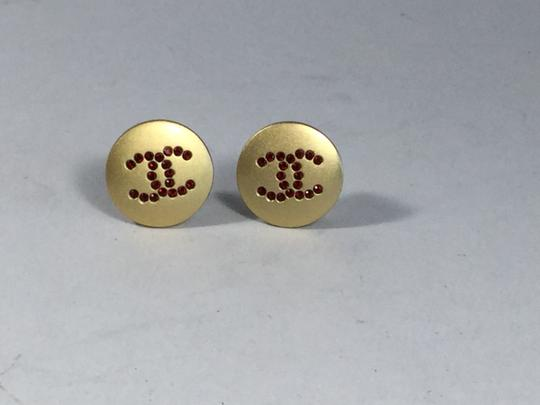 Chanel Chanel Red Crystal CC Emblem Clip Earrings