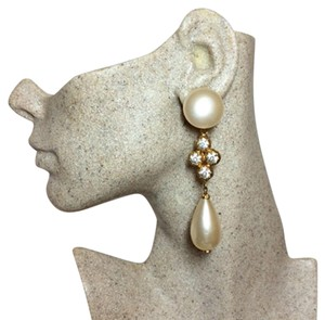 Chanel Stunning Vintage Gripoix Pearl Enormous Runway Dangle Earrings