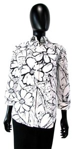 Craig Taylor Floral 3/4 Sleeve Collared Black Button Down Shirt White