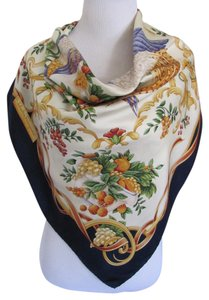 Salvatore Ferragamo Wow! Colorful Blue Ivory Floral Large Silk Scarf // 34