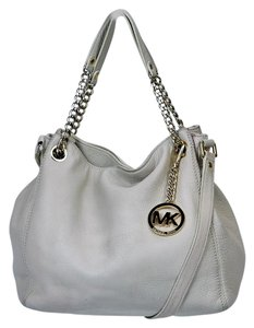 Michael Kors Leather Satchel in Ivory