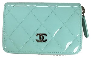 Chanel NWT CHANEL Mint CC Patent Leather Zip Wallet Coin Purse
