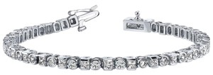 Avi and Co 4.00 cttw Round and Princess Cut Diamond Bezel Tennis Bracelet 14K White Gold