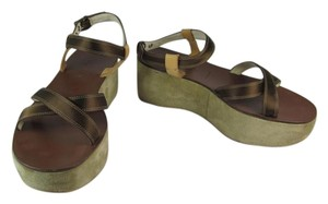 Prada Leather Logo Platforms Wedge Brown Sandals