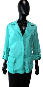Lafayette 148 New York Button Down 3/4 Sleeves Teal Jacket