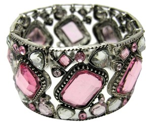 L & J ACCESSORIES L & J ACCESSORIES PINK FACETED GEM SILVERTONE STRETCH BRACELET