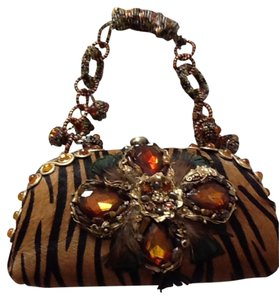 Mary Frances Jeweled Purse Feathers Tiger Satchel in Brown