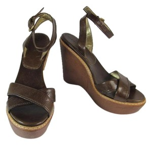Prada Brown Leather Heels Wedge Sandals