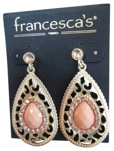 Francesca's Gold and Coral Drop Earrings - Never Been Worn