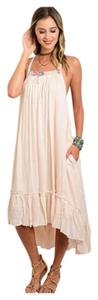 Peach Maxi Dress by Other Bohemian Free People Anthropology Hippie Vintage