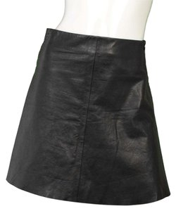 Helmut Lang Leather A-line Skirt black