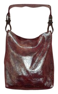 TESS LORIANI MILANO Metallic Italian Leather Tote Hobo Bag