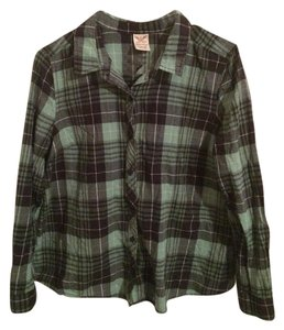 Faded Glory Plaid Black Long Sleeve Button Down Shirt Green