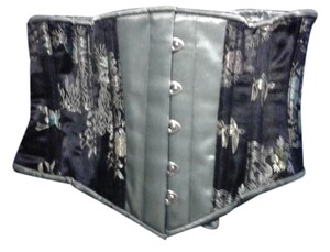 Orchard Corset Steel Boned Top Gray/navy brocade