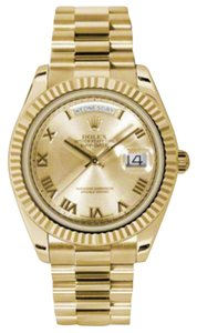 Rolex Rolex New Style Pre Owned Day-Date II President Yellow Gold Champagne Dial 41mm