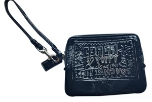 Coach Coach Poppy metallic graffiti black patent leather wristlet