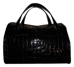 DKNY Crocodile Tote Small Satchel in Black