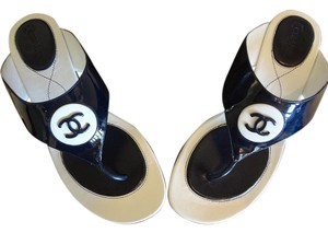 Chanel Patent Leather Navy Blue & White Sandals