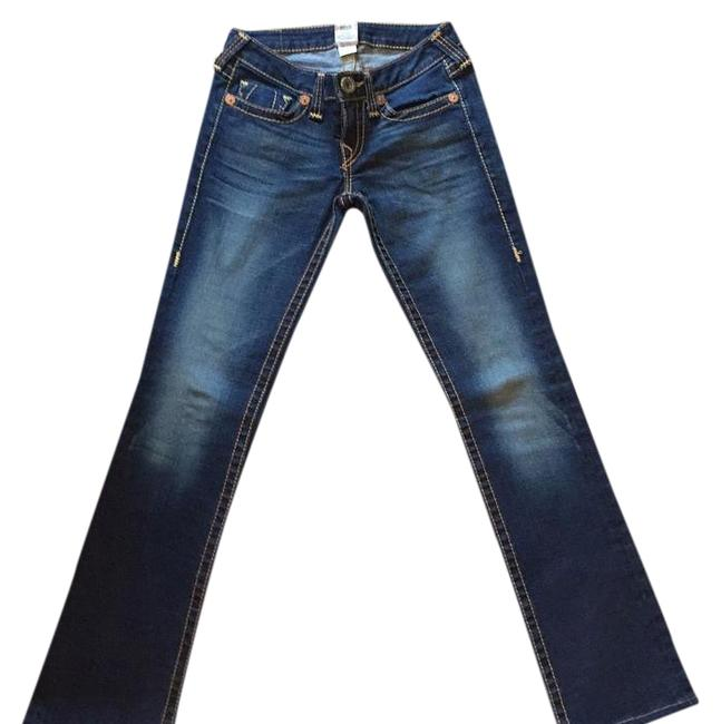 Item - Blue Denim with Whiskering Gold Stitching 062-029325 Rn: 112790 Ca#: 30427 Straight Leg Jeans Size 27 (4, S)
