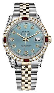 Rolex Women's Rolex 31mm Datejust 2Tone Ice Blue color Dial Accent RT Ruby & Diamond Bezel