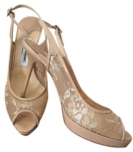 Jimmy Choo Lace Leather Slingback Nude/Beige Formal