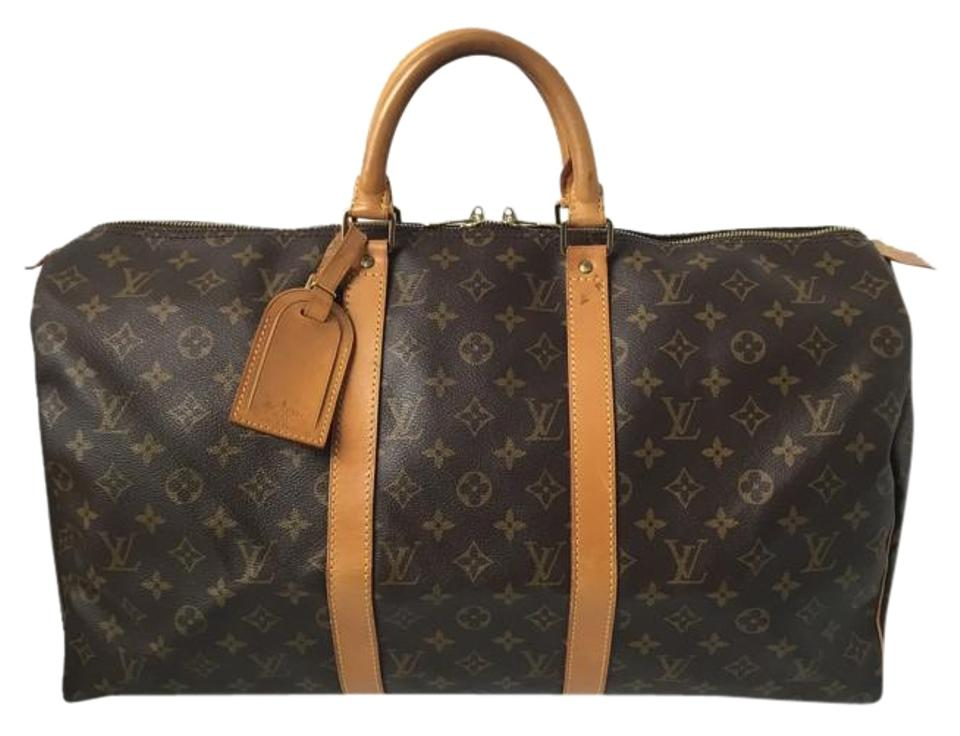 471889c5ec4d Louis Vuitton Keepall 50 with Luggage Tag Lock and Key Canvas Monogram  Weekend Travel Bag