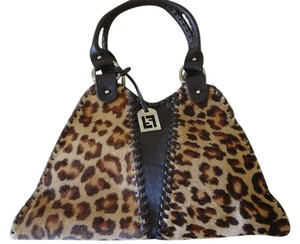 Fendi Vintage Satchel in leopard pony hair and brown leather