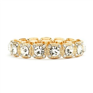 6 14k Gold Crystal Bracelets For Bridesmaids