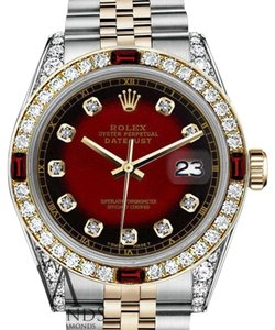 Rolex Women's Rolex 31mm Datejust 2Tone Red Vignette Accent Dial Ruby & Diamond Bezel