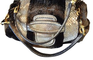 Oscar de la Renta Satchel in Grey/brown with silver python